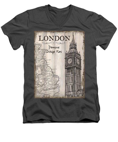 Vintage Travel Poster London Men's V-Neck T-Shirt