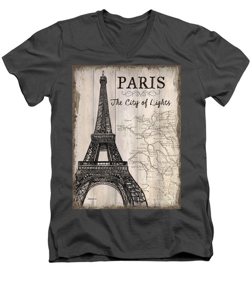 Vintage Travel Poster Paris Men's V-Neck T-Shirt by Debbie DeWitt