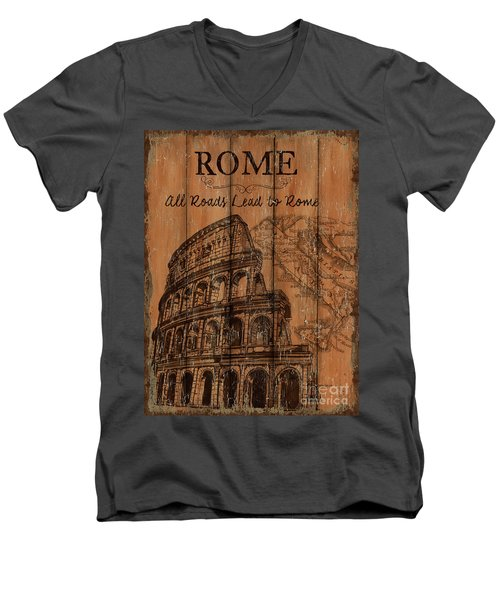 Men's V-Neck T-Shirt featuring the painting Vintage Travel Rome by Debbie DeWitt
