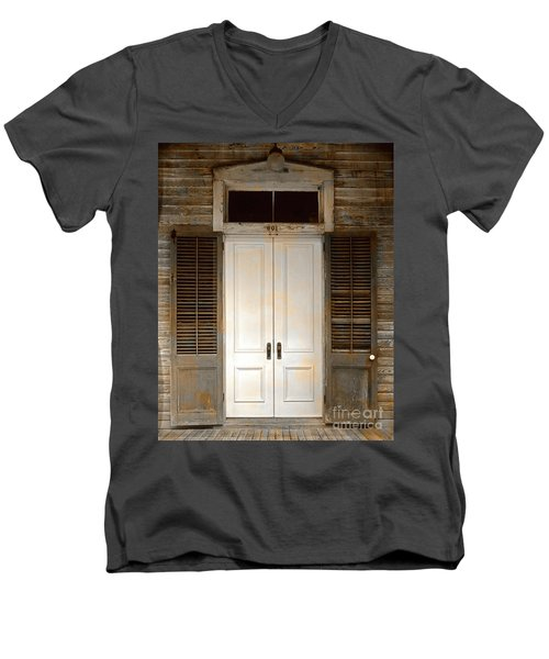 Vintage Tropical Weathered Key West Florida Doorway Men's V-Neck T-Shirt by John Stephens