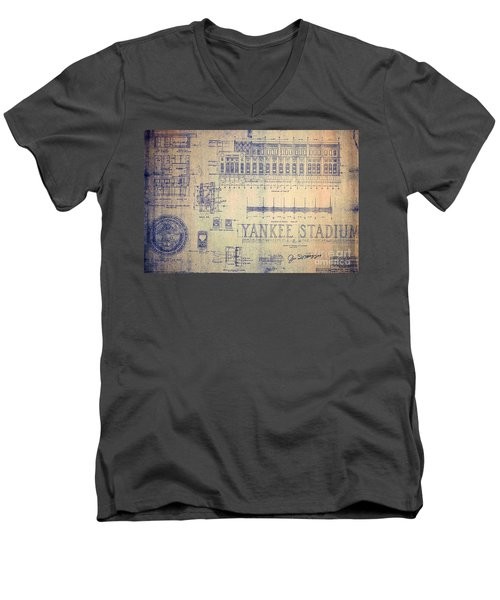Vintage Yankee Stadium Blueprint Signed By Joe Dimaggio Men's V-Neck T-Shirt