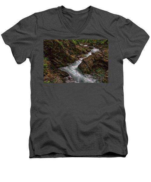Men's V-Neck T-Shirt featuring the photograph Vintgar Gorge Rapids - Slovenia by Stuart Litoff