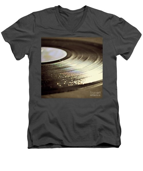 Men's V-Neck T-Shirt featuring the photograph Vinyl Record by Lyn Randle