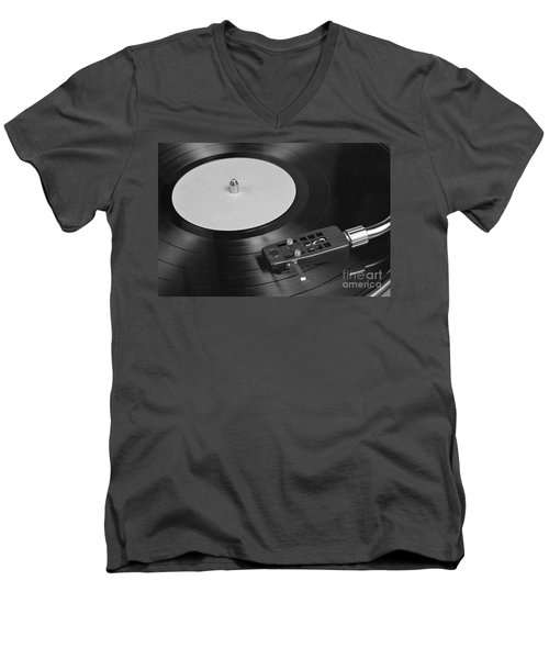 Vinyl Record Playing On A Turntable Overview Men's V-Neck T-Shirt