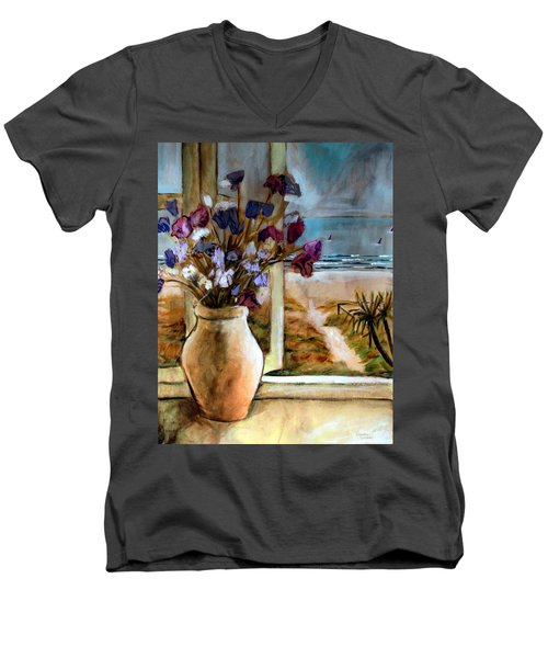 Men's V-Neck T-Shirt featuring the painting Violet Beach Flowers by Winsome Gunning