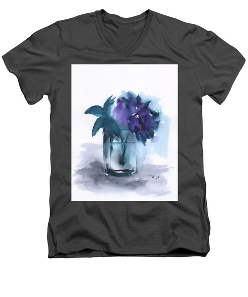 Violets In A Glass Abstract Men's V-Neck T-Shirt by Frank Bright