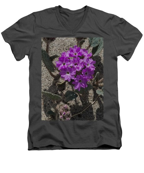 Men's V-Neck T-Shirt featuring the photograph Violets In The Sand by Jeremy McKay