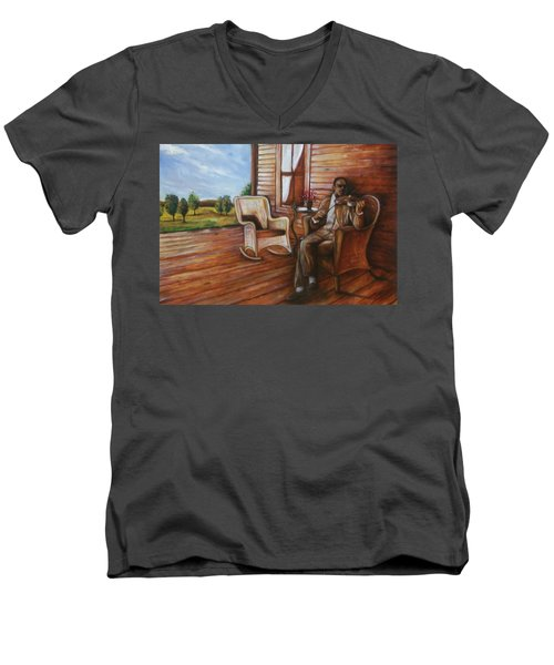 Men's V-Neck T-Shirt featuring the painting Violin Man by Emery Franklin