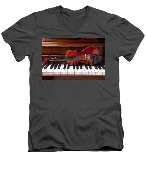 Violin On Piano Men's V-Neck T-Shirt by Garry Gay