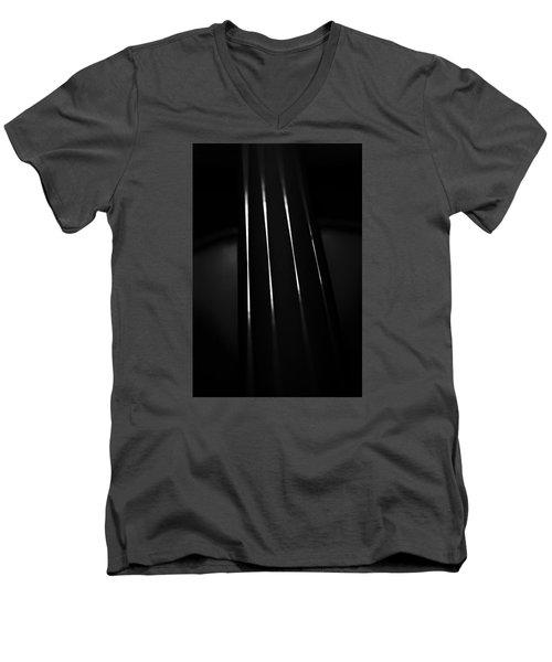 Violin Portrait Music 27 Macro Black White Men's V-Neck T-Shirt by David Haskett