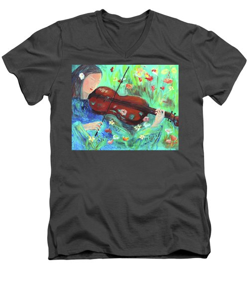 Violinist In Garden Men's V-Neck T-Shirt