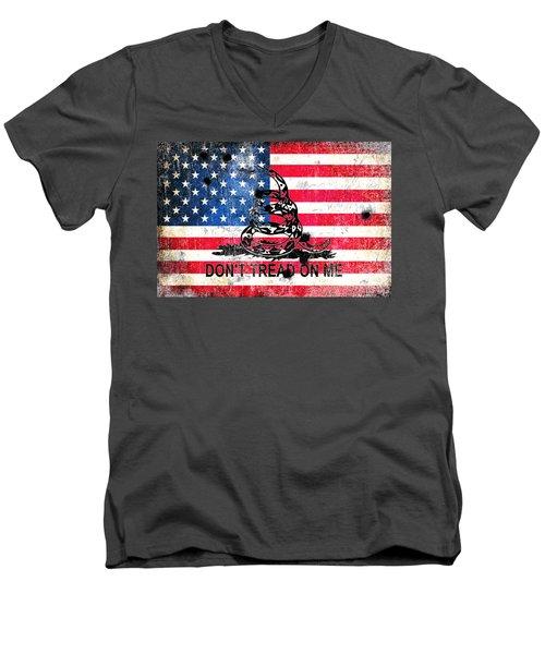 Viper N Bullet Holes On Old Glory Men's V-Neck T-Shirt by M L C