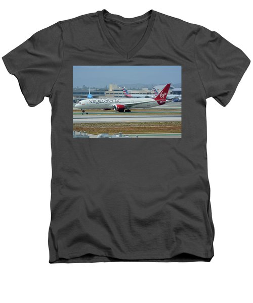 Men's V-Neck T-Shirt featuring the photograph Virgin Atlantic Boeing 787-9 G-vzig Los Angeles International Airport May 3 2016 by Brian Lockett
