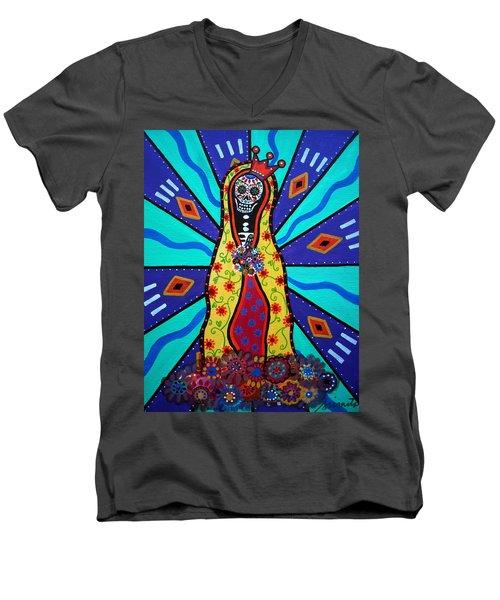 Virgin Guadalupe Day Of The Dead Men's V-Neck T-Shirt