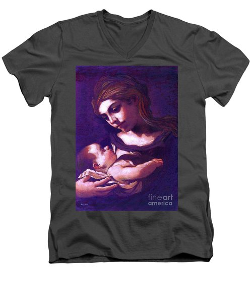 Men's V-Neck T-Shirt featuring the painting Virgin Mary And Baby Jesus, The Greatest Gift by Jane Small