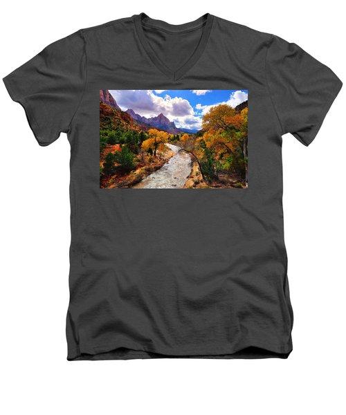 Virgin River Autumn Men's V-Neck T-Shirt