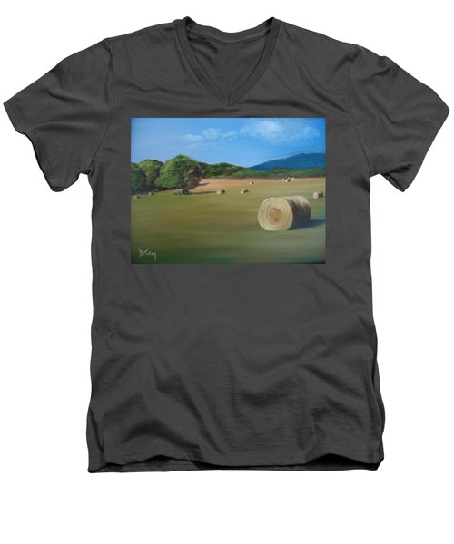 Men's V-Neck T-Shirt featuring the painting Virginia Hay Bales by Donna Tuten