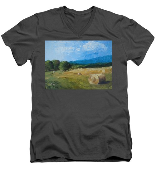 Men's V-Neck T-Shirt featuring the painting Virginia Hay Bales II by Donna Tuten
