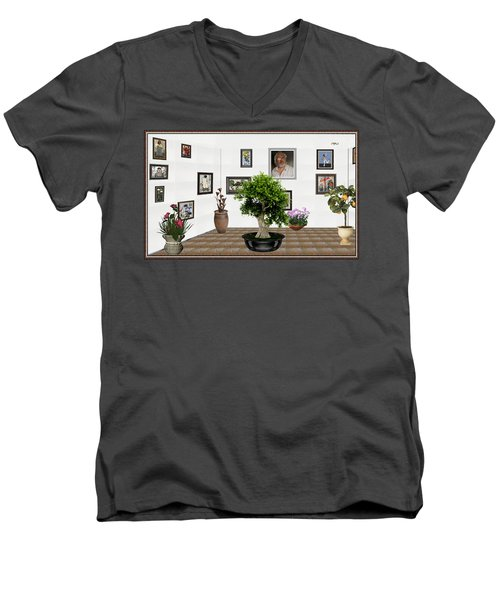 Men's V-Neck T-Shirt featuring the mixed media Virtual Exhibition -  Bonsai 13 by Pemaro