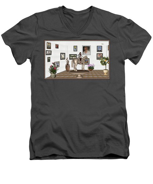 Men's V-Neck T-Shirt featuring the mixed media Virtual Exhibition Horsewoman 13 by Pemaro