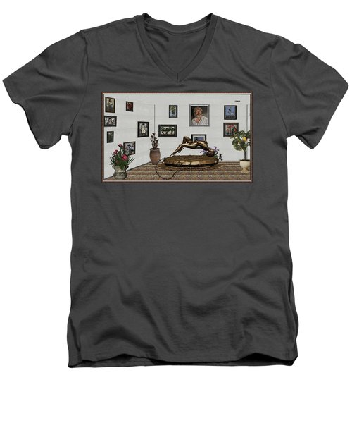 Men's V-Neck T-Shirt featuring the mixed media Virtual Exhibition -statue Of Girl by Pemaro