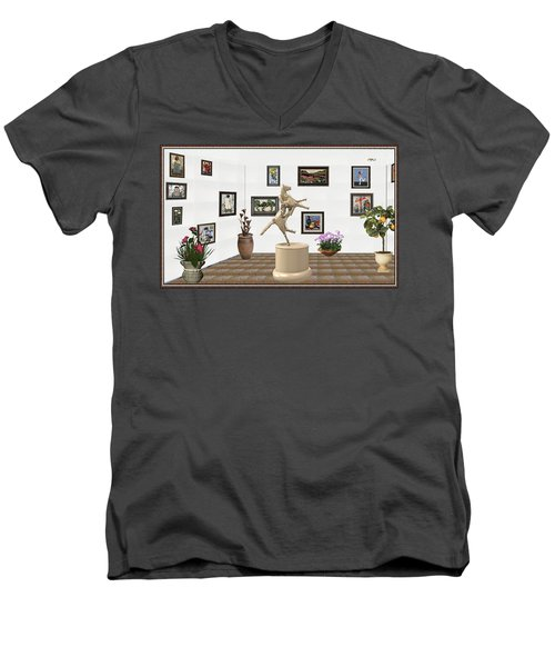 Men's V-Neck T-Shirt featuring the mixed media Virtual Exhibition_statue Of A Horse by Pemaro