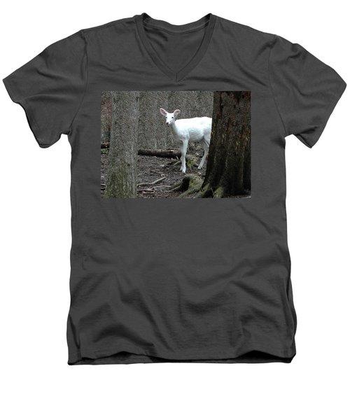 Men's V-Neck T-Shirt featuring the photograph Vision Quest White Deer by LeeAnn McLaneGoetz McLaneGoetzStudioLLCcom