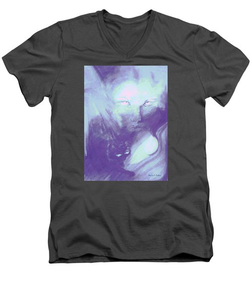 Men's V-Neck T-Shirt featuring the painting Visions Of The Night by Denise Fulmer
