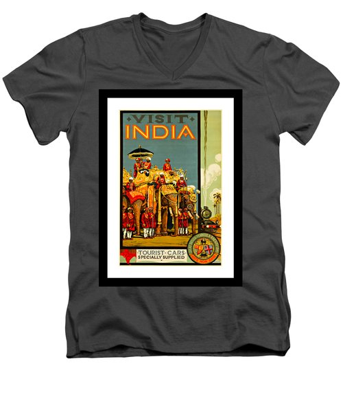Visit India The Great Indian Peninsula Railway 1920s By A R Acott Men's V-Neck T-Shirt by Peter Gumaer Ogden Collection