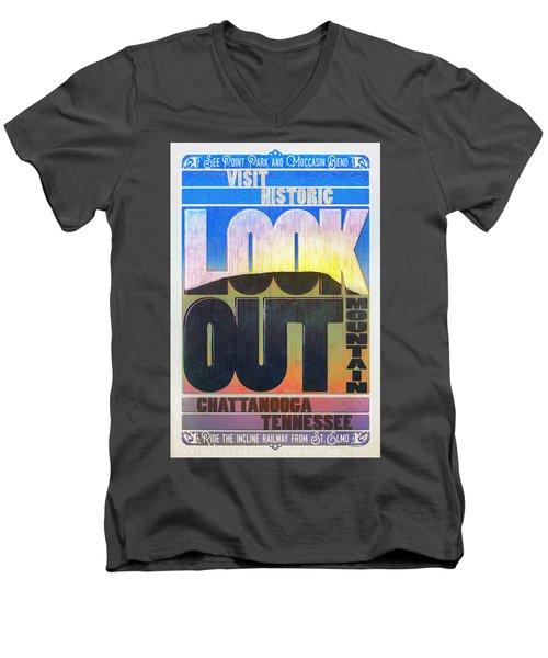 Visit Lookout Mountain Men's V-Neck T-Shirt by Steven Llorca