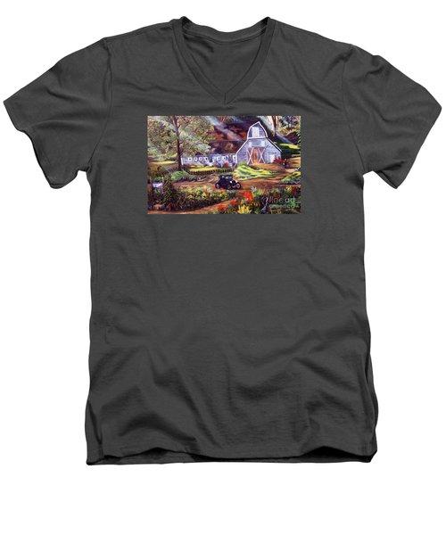 Visiting The Rocking R Men's V-Neck T-Shirt by Myrna Walsh