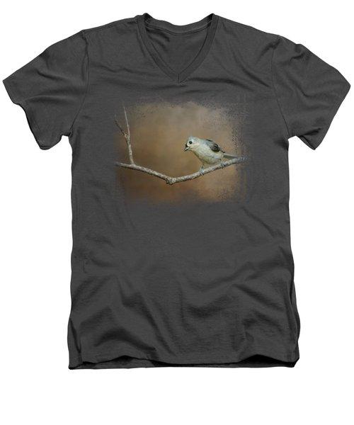 Visiting Tufted Titmouse Men's V-Neck T-Shirt by Jai Johnson