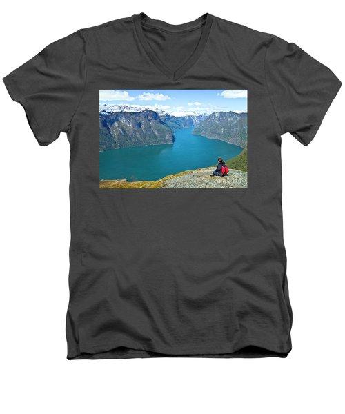 Visitor At Aurlandsfjord Men's V-Neck T-Shirt
