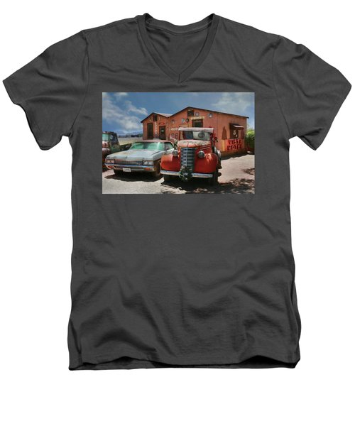 Men's V-Neck T-Shirt featuring the photograph Vista Motel by Lori Deiter