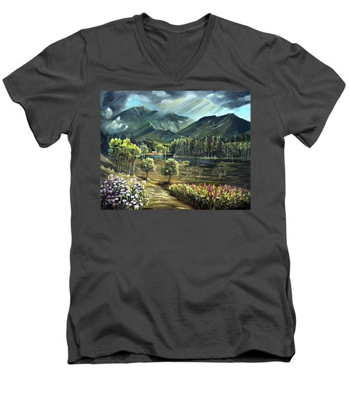 Vista View Of Cannon Mountain Men's V-Neck T-Shirt
