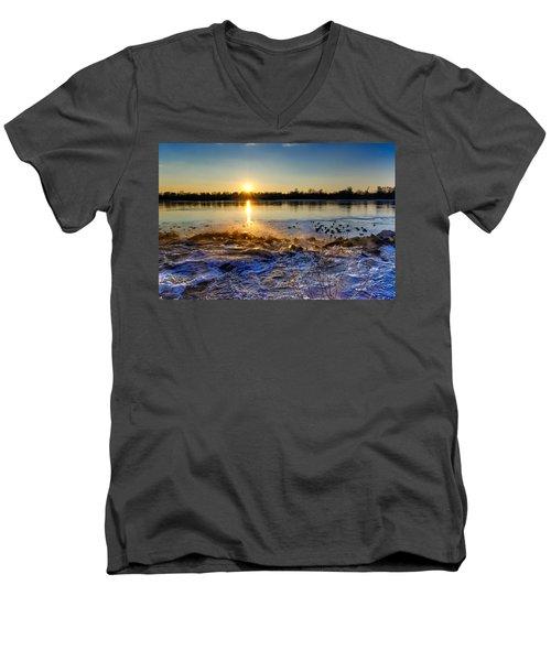 Vistula River Sunset 3 Men's V-Neck T-Shirt