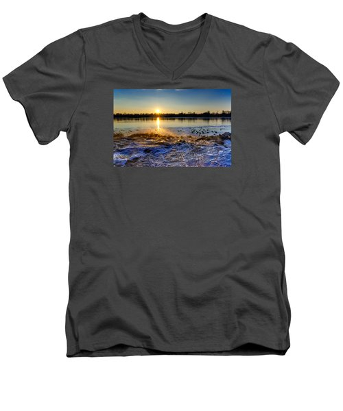 Vistula River Sunset 3 Men's V-Neck T-Shirt