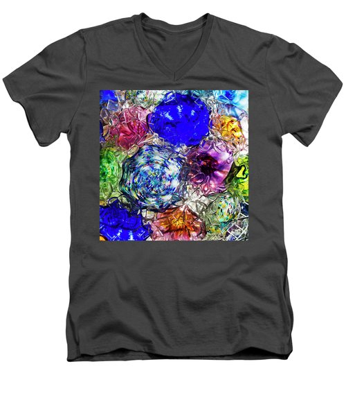 Vitreous Flora Men's V-Neck T-Shirt by Gary Holmes