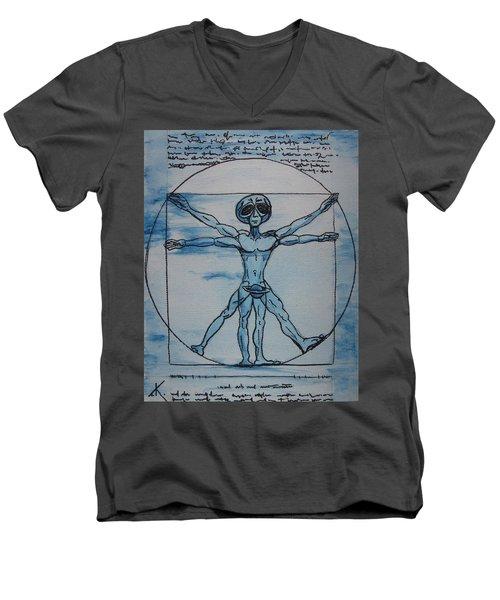 Vitruvian Alien Men's V-Neck T-Shirt