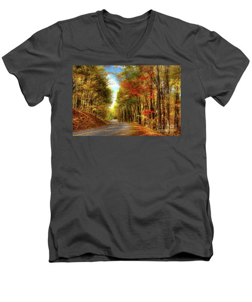 Men's V-Neck T-Shirt featuring the painting Vivid Autumn In The Blue Ridge Mountains Ap by Dan Carmichael