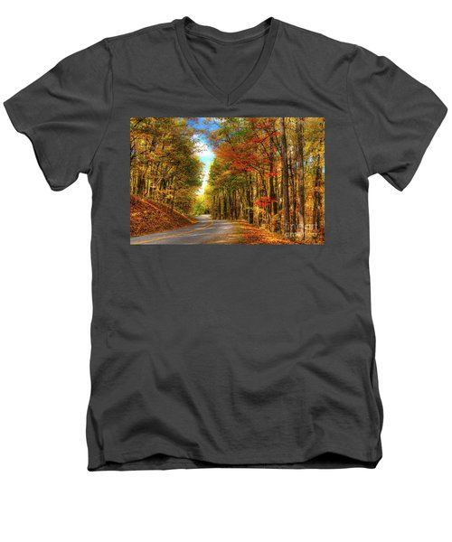 Vivid Autumn In The Blue Ridge Mountains Men's V-Neck T-Shirt