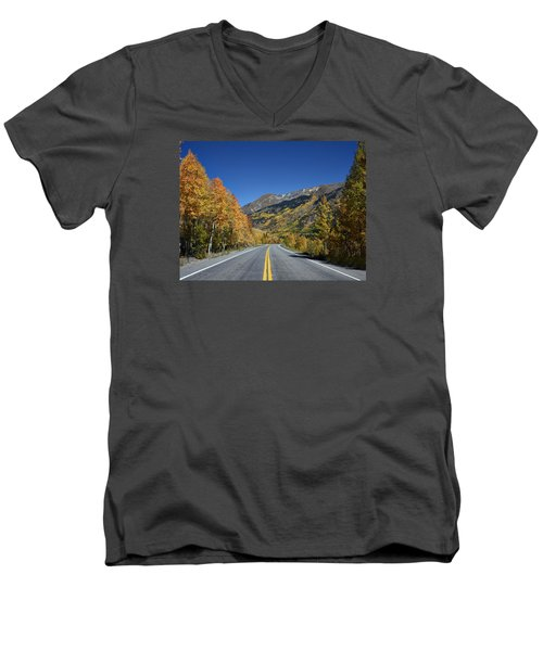 Vivid Fall Colors On The Million-dollar Highway In San Juan County In Colorado  Men's V-Neck T-Shirt