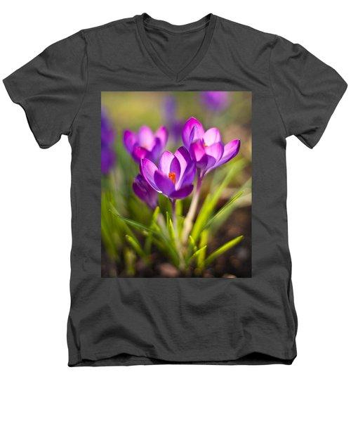 Vivid Petals Men's V-Neck T-Shirt