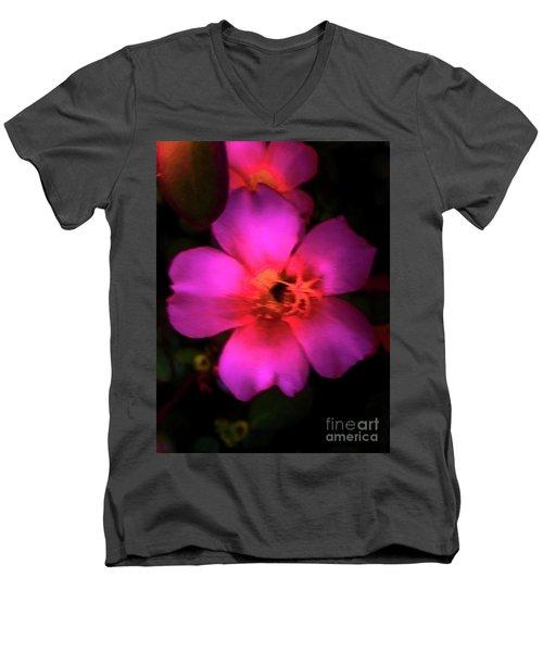 Vivid Rich Pink Flower Men's V-Neck T-Shirt