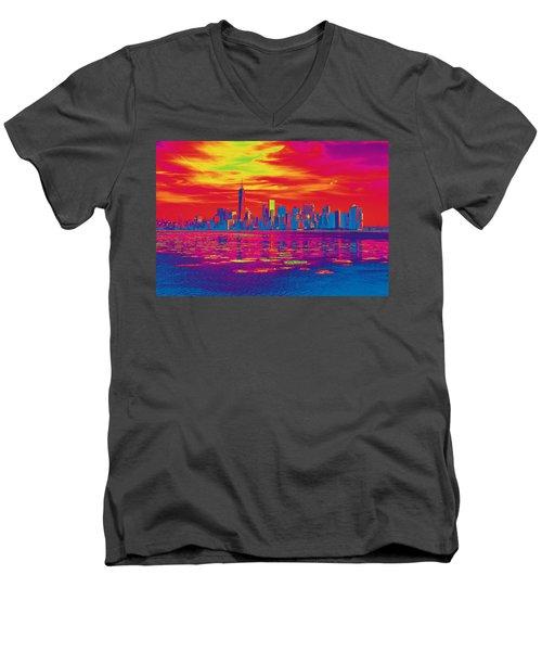 Vivid Skyline Of New York City, United States Men's V-Neck T-Shirt
