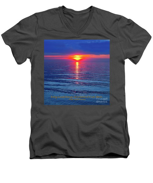 Men's V-Neck T-Shirt featuring the photograph Vivid Sunset - Emerson Quote - Square Format by Ginny Gaura