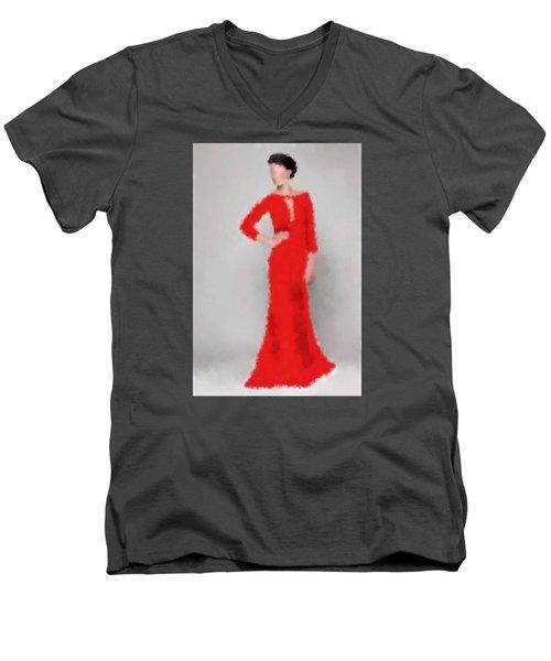 Men's V-Neck T-Shirt featuring the digital art Vivienne by Nancy Levan