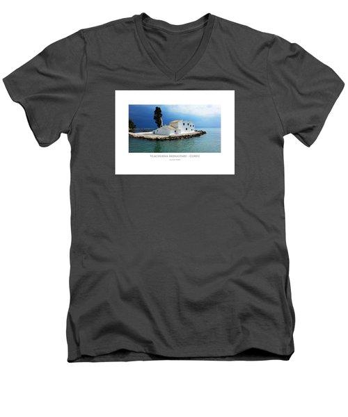 Vlachurna Monastary - Corfu Men's V-Neck T-Shirt