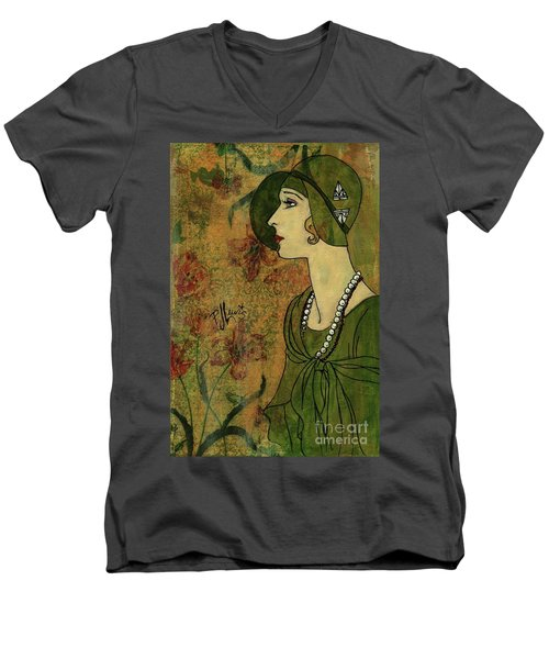 Men's V-Neck T-Shirt featuring the painting Vogue Twenties by P J Lewis
