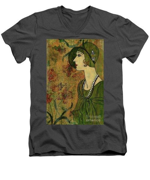 Vogue Twenties Men's V-Neck T-Shirt by P J Lewis